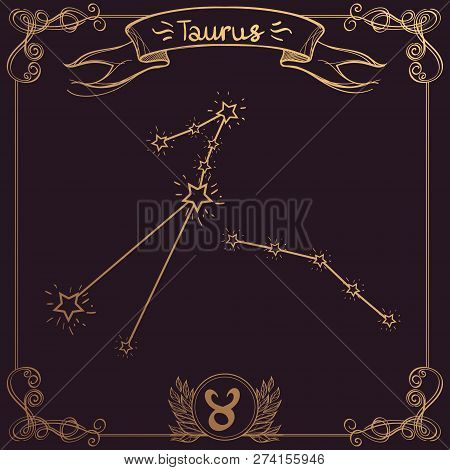 Taurus constellation. Schematic representation of the signs of the zodiac. poster