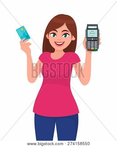 Young Woman Holding Pos Payment Terminal And Card. Girl Showing Credit/debit Cards Swiping Machine.