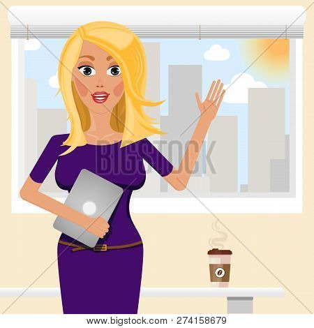 Business Girl With Tablet. Vector Cartoon Female Character. Training Seminar Coach In Smart Office.