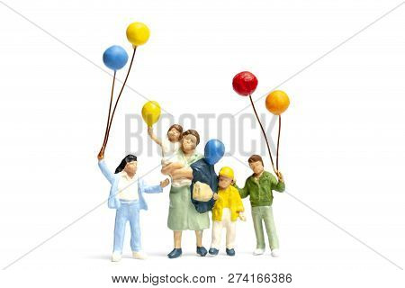 Miniature People Children Holding Balloon Isolate On White Background