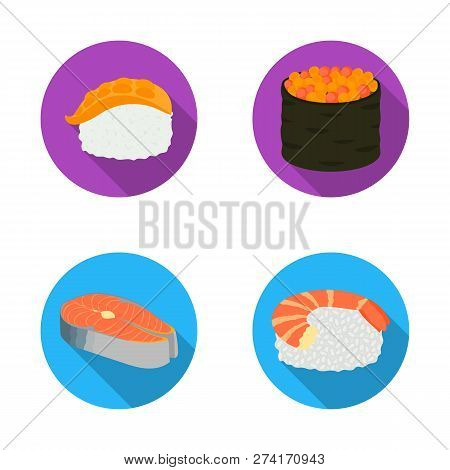Vector Design Of Sushi And Fish Sign. Set Of Sushi And Cuisine Stock Symbol For Web.