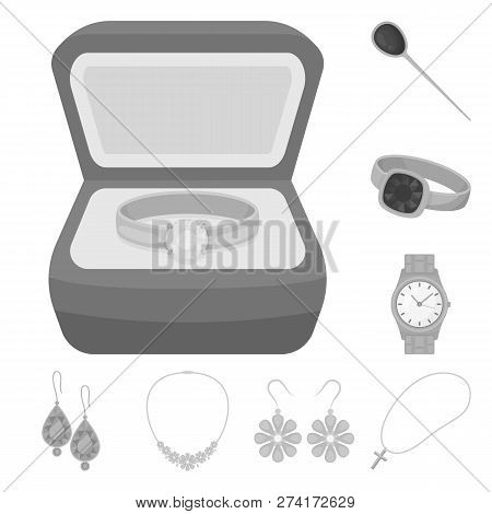 Vector illustration of jewelery and necklace symbol. Collection of jewelery and pendent vector icon for stock. poster