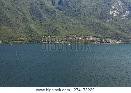 Top View Of Garda Lake In Lombardy, Italy