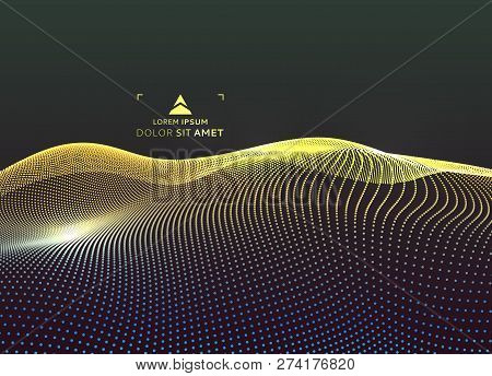 Landscape Background. Terrain. Cyberspace Grid. 3d Technology Vector Illustration With Particle.