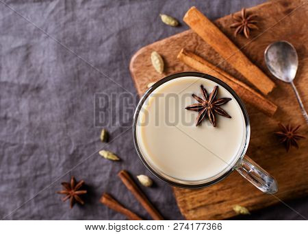 Mug Of Spice Latter Tea Or Coffee, Winter And Autumn Hot Drink On Grey Background, Copy Space
