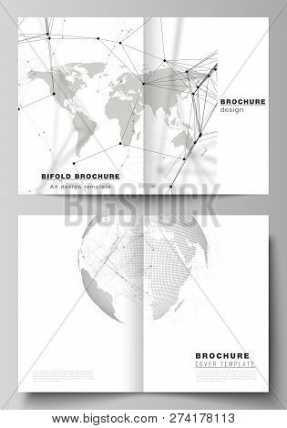 Vector Layout Of Two A4 Format Cover Mockups Design Templates For Bifold Brochure, Flyer, Report. Fu