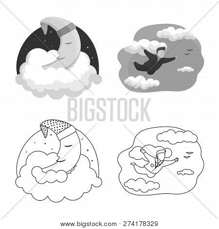 Vector Illustration Of Dreams And Night Symbol. Set Of Dreams And Bedroom Vector Icon For Stock.