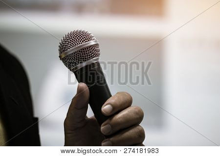 Seminar Speaking Conference Concept : Microphone Of Speech In Seminar Room Or Speaking Conference Ha