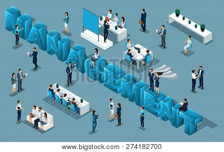 Isometric Cartoon People, 3d Businessmen, Office Workers, People In Business Suits Big Letters Manag