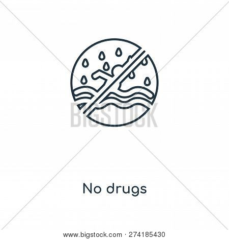 No Drugs Icon In Trendy Design Style. No Drugs Icon Isolated On White Background. No Drugs Vector Ic