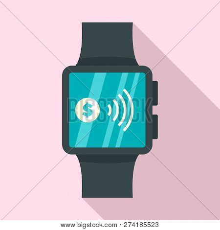 Smartwatch Nfc Pay Icon. Flat Illustration Of Smartwatch Nfc Pay Vector Icon For Web Design