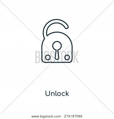 Unlock Icon In Trendy Design Style. Unlock Icon Isolated On White Background. Unlock Vector Icon Sim