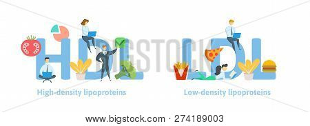 Hdl And Ldl Banner Ideas. Concept With Keywords, Letters, Food, And Icons. Flat Vector Illustration.