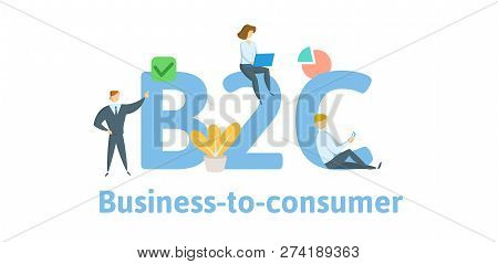 B2C, business to consumer. Concept with keywords, letters, and icons. Flat vector illustration. Isolated on white background. poster