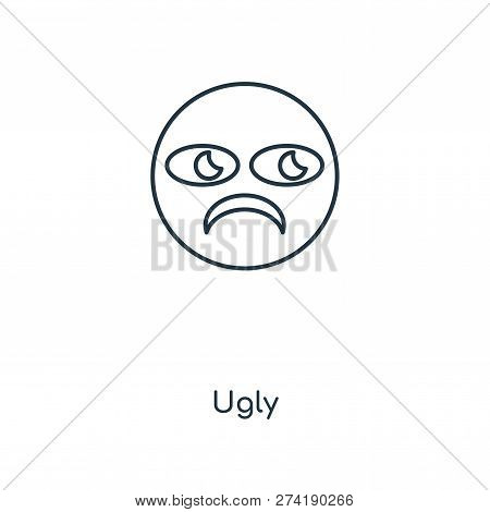 Ugly Icon In Trendy Design Style. Ugly Icon Isolated On White Background. Ugly Vector Icon Simple An