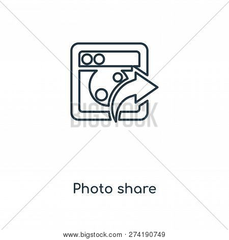 Photo Share Icon In Trendy Design Style. Photo Share Icon Isolated On White Background. Photo Share