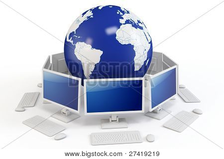 3D World Globe With Computer Terminals