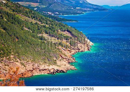 Makarska Riviera Biokovo Cliffs Waterfront View, Mountain And Sea In Dalmatia Region Of Croatia