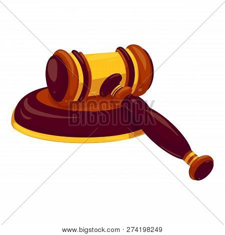 Judge Gavel Icon. Cartoon Of Judge Gavel Vector Icon For Web Design Isolated On White Background