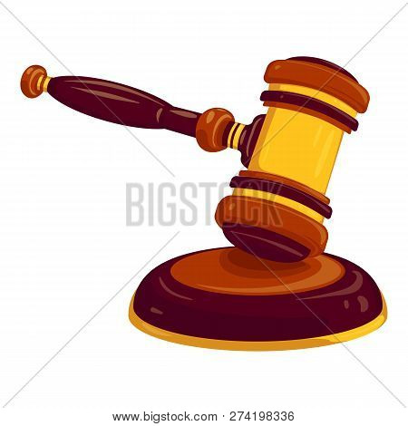 Wood Gavel Icon. Cartoon Of Wood Gavel Vector Icon For Web Design Isolated On White Background