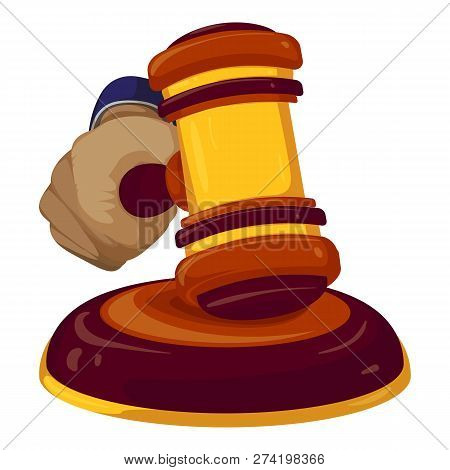 Gavel Judge Decision Icon. Cartoon Of Gavel Judge Decision Vector Icon For Web Design Isolated On Wh