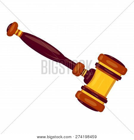 New Judge Gavel Icon. Cartoon Of New Judge Gavel Vector Icon For Web Design Isolated On White Backgr