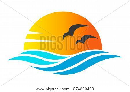 Abstract Design Of Ocean Icon Or Logo With Sun, Sea Waves, Sunset And Seagulls Silhoutte In Simple F