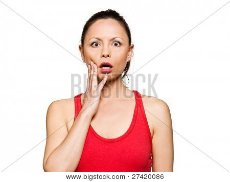 Portrait of expressive surprised woman with eyes wide open in studio isolated on white background