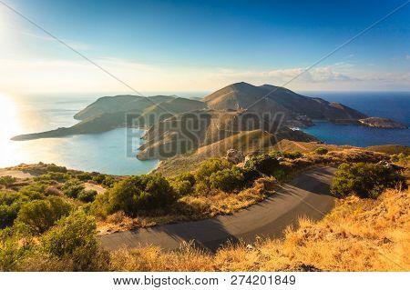 Southern Greece Mani Peninsula. Sea Landscape Rocky Coastline, Peloponnese.