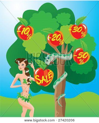 Eva and snake - sale cartoon