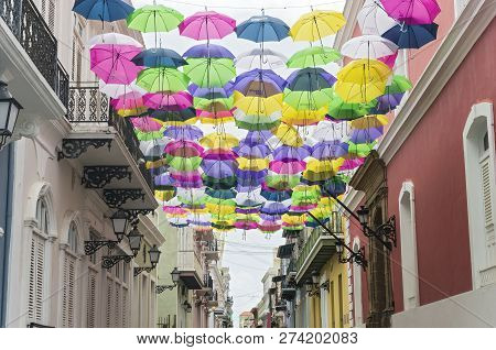 Colorful Umbrellas Decorate The Streets Of Old San Juan Puerto Rico
