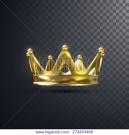 Golden Crown Isolated On Transparent Background. Realistic Vector Illustration. Monarchy Sign. Royal