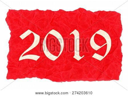 Year 2019 label on red creased paper parchment poster