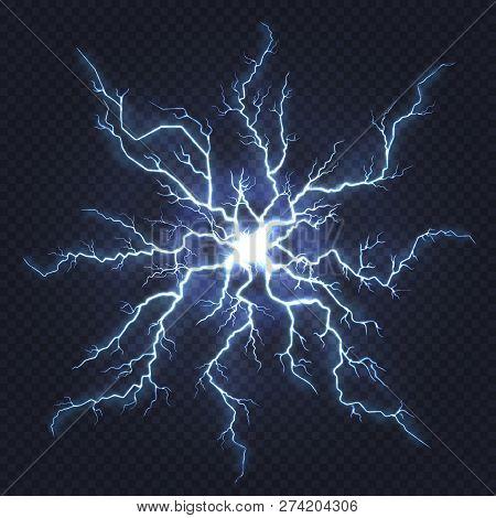 Lightning Thunder. Flash Electricity, Spark Strike, Blue Light Blitz Electric Flare, Natural Energy