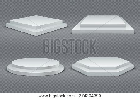 White Podiums. Round And Square 3d Empty Podium With Steps. Showroom Pedestals, Floor Stage Platform
