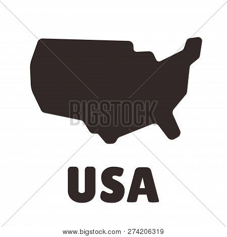 Simplified, Stylized Usa Map Shape Icon. United States Of America Silhouette, Vector Clip Art Illust