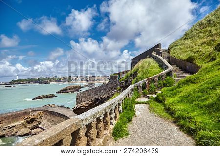 Biarritz City. Old Stone Staircase With Balusters On The Hillside. Seascape. Bay Of Biscay, Atlantic