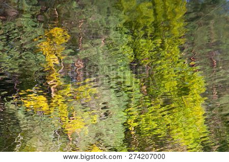 Abstract Background: Reflection Of The Deciduous Forest In The Water. Autumn Leaves Reflecting In A