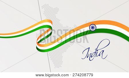 Vector Illustration Of Abstract Radial Dotted Halftone Map Of India And Wavy Ribbon With Indian Nati