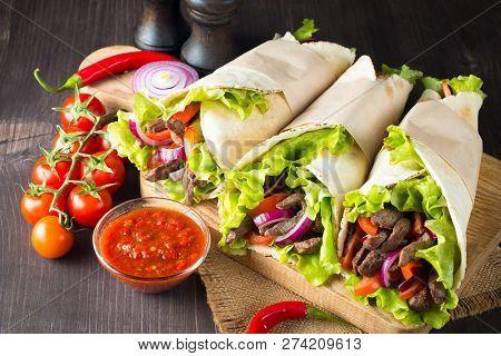 Photo Of Mexican Sandwich Food, Burrito, Fajita, Tacos, Wrap Made Of Tortilla, Beef, Chicken, Fresh