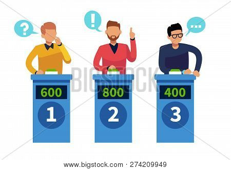 Quiz Show People. Tv Contest Answering Persons With Podium. Cartoon Conundrum, Tv Show Vector Concep