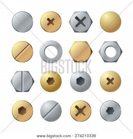 Bolt Heads. Metal Head Pin Nail Rivet, Brass Screw. Industrial Top View Steel Fasteners, Repair Scre