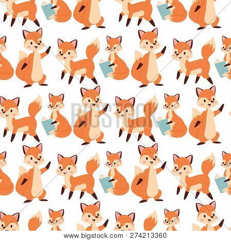 Fox Character Doing Different Activities Funny Happy Nature Red Foxy Cute Adorable Tail And Wildlife