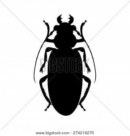 Titan Beetle Silhouette. Vector Illustration Isolated On White Background