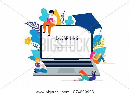 E-learning Concept Illustration. Big Laptop With A Square Academic Cap