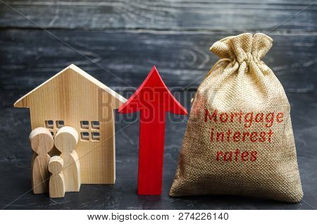 Bag With The Money And The Word Mortgage Interest Rates And Up Arrow With Family And Home. Raising M