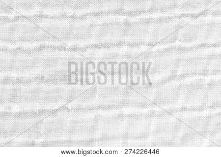 White Background From A Textile Material With Wicker Pattern, Closeup. Structure Of The Snow-white F