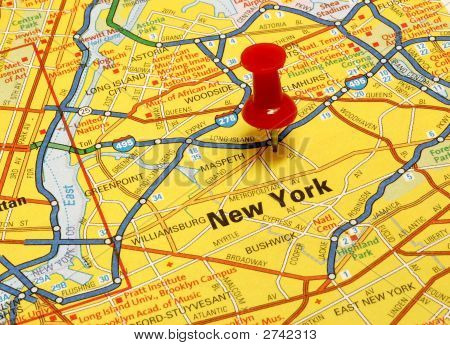Map of New York city with red push pin poster
