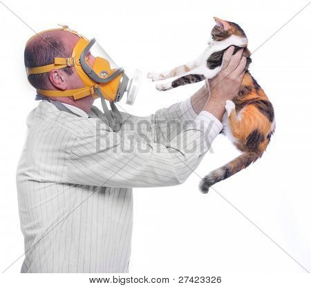 Allergy to animal fur concept. Man in respirator holding his cat. poster