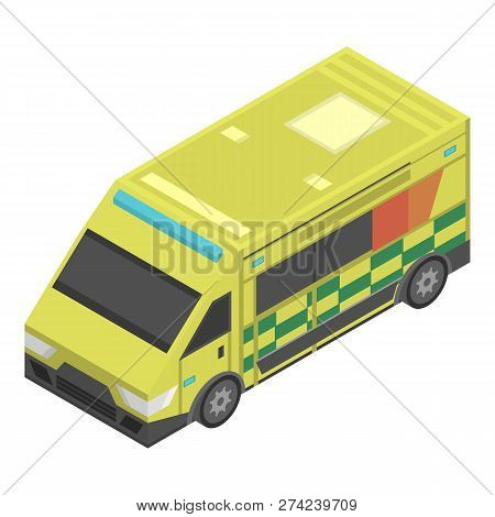 Emergency Ambulance Icon. Isometric Of Emergency Ambulance Vector Icon For Web Design Isolated On Wh